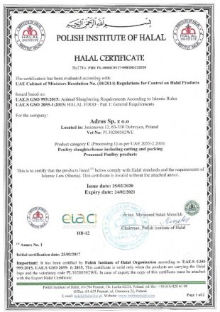 Adros Certyfikat HALAL