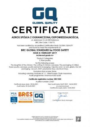 Adros BRC certificate 2021 EN