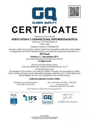 Adros_Certificate IFS EN