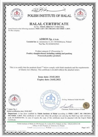 Halal Certificate Adros 02.2022-1